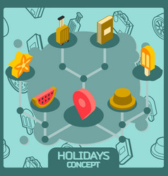 holidays color concept isometric icons vector image