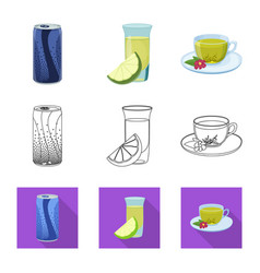 Isolated object of drink and bar symbol set of vector