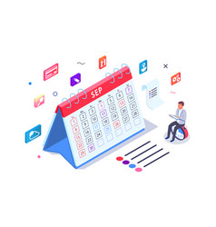 Isometric 3d calendar with task managment and vector