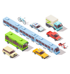 isometric city public transport subway train bus vector image
