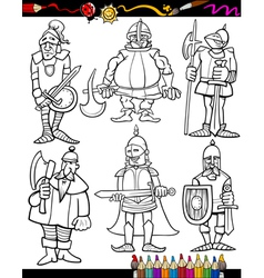 Knights Cartoon Set for coloring book vector image