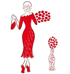Lady in long red gown with red roses goes away vector image vector image