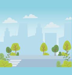 Landscape urban city street trees bush sky vector