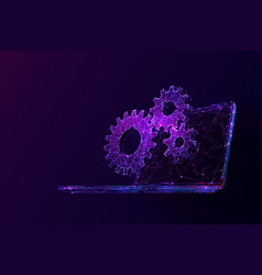 laptop and cogs low poly vector image