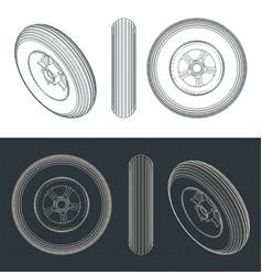 Light airplane wheel blueprints vector