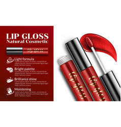 Lip gloss ads sticky glossy liquid cosmetics vector