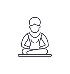 lotus pose meditation line icon concept lotus vector image