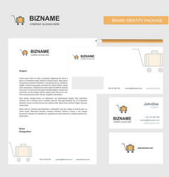 Luggage cart business letterhead envelope and vector