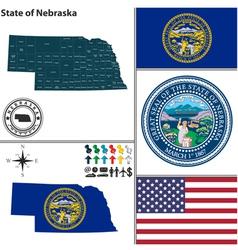 map nebraska with seal vector image
