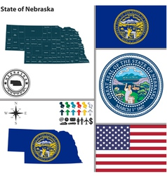 Map of Nebraska with seal vector image