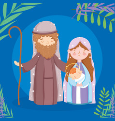 mary joseph and bajesus manger nativity merry vector image