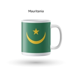 Mauritania flag souvenir mug on white background vector