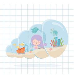 Mermaid fishes turtle starfish cartoon under the vector