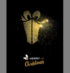 merry christmas gold glitter gift box holiday card vector image