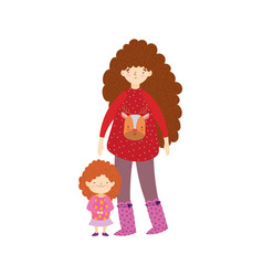 merry christmas mom and daughter with ugly sweater vector image