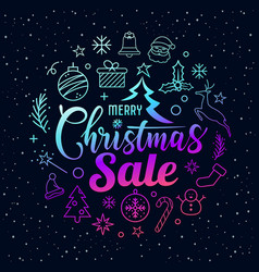 merry christmas sale message with icons purple vector image
