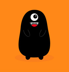 Monster black silhouette fang tooth open mouth vector
