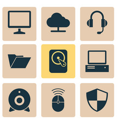 notebook icons set collection of earphone vector image vector image