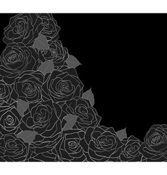 Outline of roses on a black background vector