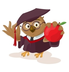 Owl teacher holding red apple vector