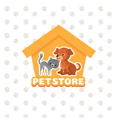 Pet store background with happy pets vector