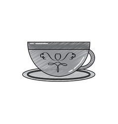 porcelain cup with saucer kitchen vector image