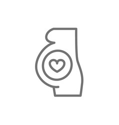 Pregnant woman with heart line icon vector