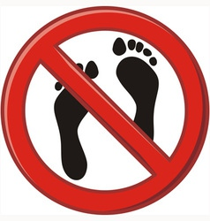 Prohibition of walking barefoot vector