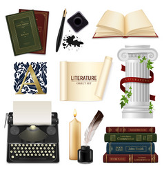 realistic literature objects set vector image