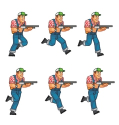 Red neck running sprite vector