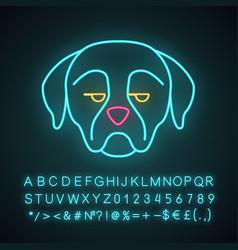 rottweiler cute kawaii neon light character vector image
