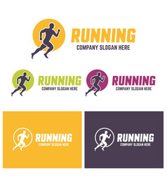 running man silhouette in a circle colourful logo vector image