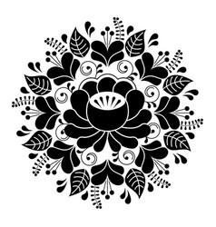 Russian inspired folk art pattern - black vector