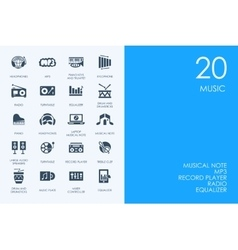 Set of blue hamster library music icons vector