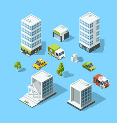 set of isometric cartoon-style buildings trees vector image
