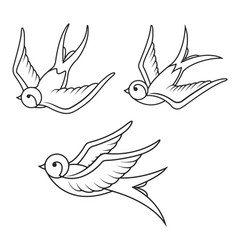 Set of swallow tattoo templates isolated on white vector