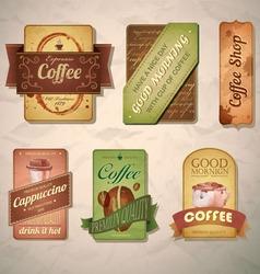 set vintage decorative coffee labels vector image