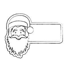 silhouette blurred banner with face cartoon santa vector image