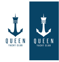 simple chess figure queen and anchor design vector image