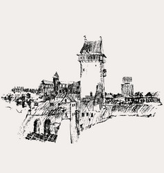 sketch an ancient fortress in northern europe vector image