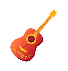 spanish guitar with ornament musical instrument vector image