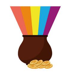 st patricks day cauldron rainbow with coins vector image