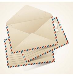 stack old vintage envelopes vector image