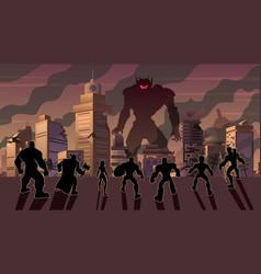 Super team versus evil robot vector