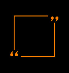 Text quote sign orange icon on black background vector