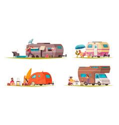 Travel trailer camper set vector