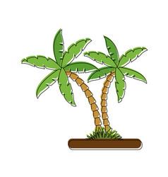 tree palms on ground vector image