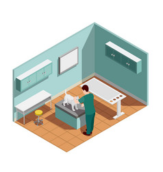 vet clinic isometric composition vector image
