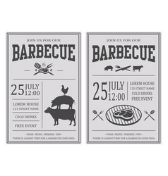 Vintage barbecue party invitation bbq food flyer vector