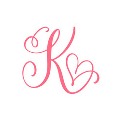 Vintage floral monogram letter k vector